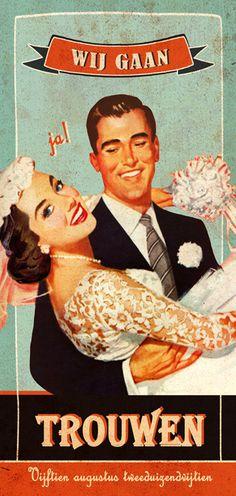 Huwelijk Linde en Jeroen - trouwkaart - voorkant - Pimpelpluis - https://www.facebook.com/pages/Pimpelpluis/188675421305550?ref=hl (# huwelijksuitnodiging - trouw - retro - banner - huwelijk - typografie - kaart - vintage - origineel)