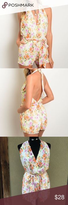 🆕Peach & Cream Floral Halter Romper Beautiful Peach & Cream Floral Halter Romper- plunging neckline halter style, open back, tie belt with elastic waist, side pockets.  Fully lined❣         ✅I ship same or next day ✅Bundle for discount Pants Jumpsuits & Rompers