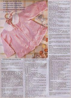 Click na imagem para melhor visualização da receita trico (bebê casaquinho rosa com folhas).      casaquinho bebê, faça você mesmo, Receita...
