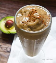 ChocoCado Shake   1 cup soy or almond milk, vanilla  1 banana, frozen  1/3 - 1/2 avocado  1 cup ice  1 Tbsp dark chocolate cacao powder (dairy-free)  1-3 tsp agave or maple syrup  protein boost: 1 scoop or your favorite vegan protein powder  more sweetness: add a couple grapes