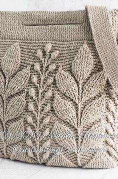 Sep 2019 - Spica Embossed Crochet Bag Pattern - I think it's different from the one that Annoo crochet does, I don't think her version has the middle leafy things. Crochet Stitches, Knit Crochet, Crochet Hats, Crochet Handbags, Crochet Purses, Knitting Patterns, Crochet Patterns, Back Post Double Crochet, Diy Crafts Crochet