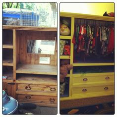 Transformed An Old Entertainment Center Into A Closet For Our Son!