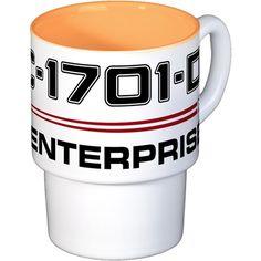 USS Enterprise-D Dark Coffee Cups on CafePress.com