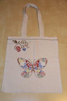 Handmade in Jerutki: Torba bawełniana - motyl / shopping bag