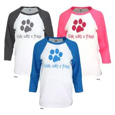 Walk With A Friend Baseball T-Shirt at The Animal Rescue Site