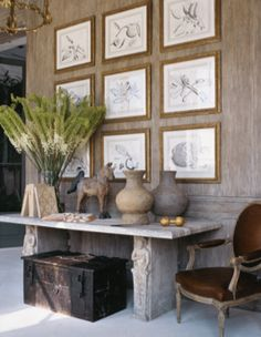 interior design ideas and inspiration for the transitional home : Art Statement: Gallery walls Interior Desing, Interior Inspiration, Interior Decorating, Decorating Ideas, Transitional House, Home Design, Design Design, Design Hotel, Console Table
