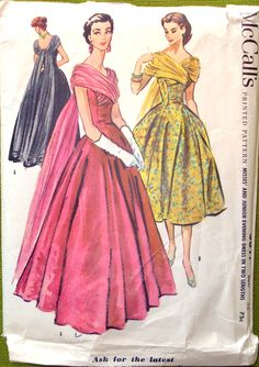 McCall's 3817 Evening Dress oww cant be hard to do just take your chiffon and gather it into the front seam of a princes seamed dress toss it over each shoulder wallh!