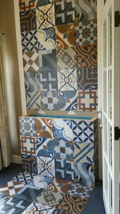 5369 Fireplace Tiles, Quilts, Blanket, Bathroom, Bed, Home, Washroom, Stream Bed, Quilt Sets
