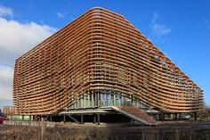 Wavy facade with wooden lammela's at Wetsus Watercampus. Parametric Design, Netherlands, Facade, Building, Google, Projects, The Nederlands, Log Projects, The Netherlands