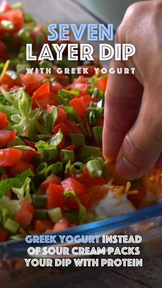 This Seven Layer Dip is protein packed by using H-E-B Greek Yogurt instead of sour cream. Seven Layer Dip Dip Recipes, Mexican Food Recipes, Appetizer Recipes, Great Recipes, Vegetarian Recipes, Favorite Recipes, Healthy Recipes, Appetizers, I Love Food