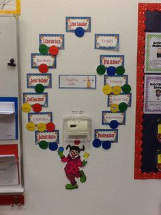 circus:  job board, instead of rectangle job cards, use circles (balls), then use clothespins to clip students' name to job
