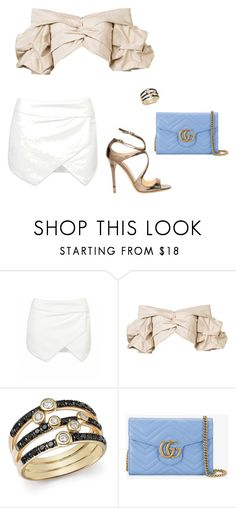 """""""Untitled #5086"""" by teastylef ❤ liked on Polyvore featuring Johanna Ortiz, Bloomingdale's, Gucci, Jimmy Choo, asymmetricskirts and 60secondstyle"""