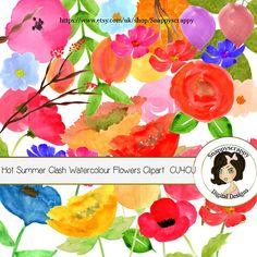 Flower Clipart /  Watercolour Summer Flowers / CU4CU