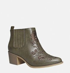 Shop comfortable booties for fall like the wide width Thayer Cowboy Bootie available online at avenue.com. Avenue Store