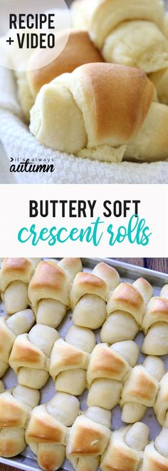 Amazing homemade buttery crescent rolls recipe – It's Always Autumn Best homemade buttery crescent rolls! If you want to make rolls for Thanksgiving, this is the recipe everyone will love! Includes video tutorial for how to make dinner rolls. Homemade Cresent Rolls, Homemade Dinner Rolls, Dinner Rolls Recipe, Easy Homemade Rolls, Homemade Breads, Crescent Roll Recipes, Crescent Rolls, Buttery Rolls, Bread Machine Recipes