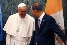 Pope Francis speaks with United Nations Secretary General Ban Ki-moon.