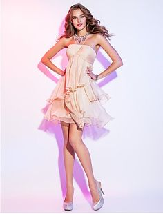 e7316f0fd80 A-Line Scoop Neck Short   Mini Chiffon Cocktail Party   Homecoming Dress  with Crystal Detailing Ruched Criss Cross by TS Couture®