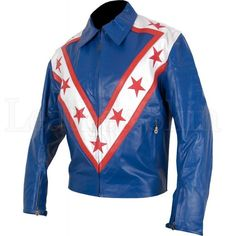 Biker Leather Jacket Blue Red Stars Stripes
