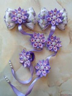 Лента в косу с цветами канзаши