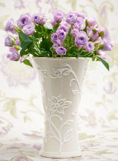 Is Your Mom Traditional? | Then she'll love to set this Vinca vase in a prominent place in her living room.  It will add just the right touch of grace and elegance. To complete the look she may choose a fresh, floral fabric in soft amethyst tones and accents of green to coordinate with the vase's design. What traditions has your Mother passed on to you? © Ellin Smith | Featured: Lenox Vinca Vase Fabric from the Greenwich Collection Highland Court fabrics by Duralee