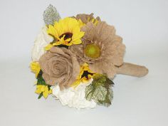 BURLAP LACE SUNFLOWER County Western Wedding by NaturePreserved, $128.00