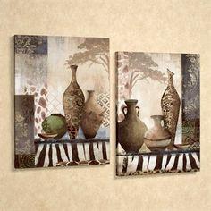 african tribal vases canvas wall art set