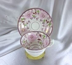 GORGEOUS-ANTIQUE-PINK-RED-COPPER-LUSTREWARE-FLORAL-HANDPAINTED-CUP-amp-SAUCER