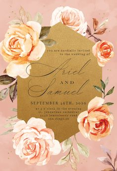 Gold and Roses - Wedding Invitation #invitations #printable #diy #template #wedding Free Wedding Invitations, Christening Invitations, Engagement Party Invitations, Bridal Shower Invitations, Wedding Dress Sketches, Memorial Cards, Rose Wedding, Party Wedding, Roses