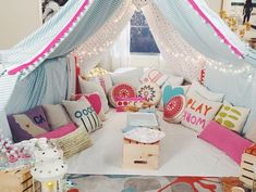 Image result for pajama party bed table food