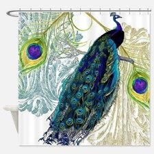 Vintage Peacock Bird Feathers Etchi Shower Curtain for