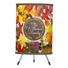 Fall Autumn Leaves Collage Monogram Vintage Wood Tripod Lamp - red gifts color style cyo diy personalize unique