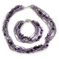 Liquidation Channel - Affordable Amethyst, Simulated Purple Sapphire, White Austrian Crystal Bracelet (8.5 in) and Necklace (18-20 in) in Stainless Steel TGW 70.00 cts.