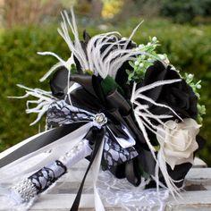 Hochzeit+Brautsträuße+Black&White+und+anstecker++von+wandadesign+auf+DaWanda.com