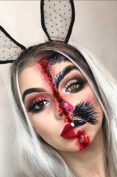 23 Bunny Makeup Ideas for Halloween Scary Half Bunny Halloween Makeup Idea Bunny Halloween Makeup, Bunny Makeup, Rabbit Halloween, Halloween Looks, Half Face Halloween Makeup, Halloween Ideas, Scary Makeup, Skull Makeup, Sfx Makeup