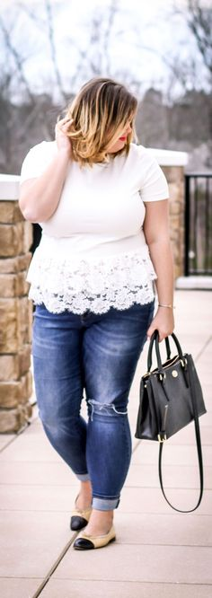 White Lace Peplum Kate Spade & Chanel flats // casual weekend look
