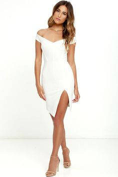 "We'd would say ""take a picture, it lasts longer,"" but we don't blame you for staring! The Bless'ed Are the Meek Mohawk White Bodycon Dress boasts an off-the-shoulder neckline (with no slip strips) and a seamed bodice (with hidden boning) that flatters and flaunts your figure. Thick, stretch knit bodycon skirt has an angular hem and side slit. Exposed gold back zipper."