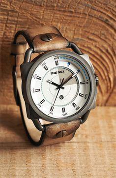 DIESEL® Round Leather Strap Watch   Nordstrom