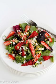 Strawberry, Pistachio, Feta Cheese & Basil Salad Recipe | cookincanuck.com #salad #recipe by CookinCanuck, via Flickr