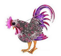 Trendy big galo broch jóias moda Multicolor de cristal Strass broches Broches animais para as mulheres do sexo feminino vela quente