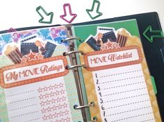 From my Etsy Shop thatsplantastik.etsy.com --- Movie Lovers, Movie Watchlist and Movie Ratings dashboard insert for planners and journals