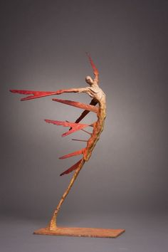 #Bronze #sculpture by #sculptor Nicola Godden titled: 'A.Vol d`Etincelle I (Contemporary Semi abstract Flying Man statue)'. #NicolaGodden