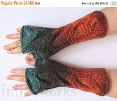 regular price Fingerless Gloves Brown Orange Blue by Initasworks