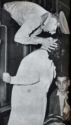 Elvis kissing his mom Gladys goodbye before deployment to Germany.