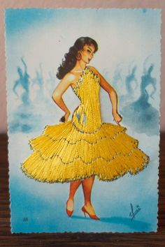 Spanish Flamenco Dancer Embroidered Postcard
