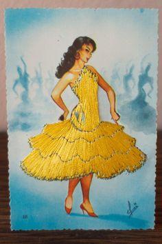 Spanish Flamenco Dancer Embroidered Postcard