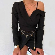 outfits black off the shoulder blazer dress gold chain coin detail belt Mode Outfits, Casual Outfits, Fashion Outfits, Womens Fashion, Fashion Tips, Club Fashion, 1950s Fashion, Dress Fashion, Fashion Clothes