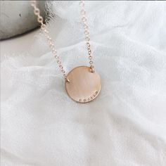 1e9536863 Hand Stamped Disc Necklaces, Personalized Bar Necklaces | Made by Mary