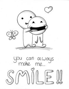 You make me smile - # smile - drawing Cute Drawings Of Love, Cool Art Drawings, Pencil Art Drawings, Art Drawings Sketches, Funny Easy Drawings, Doodle Art, Doodle Quotes, Doodles Bonitos, Smile Drawing