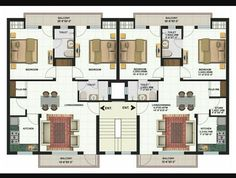 Duplex Floor Plans, Home Design Floor Plans, Apartment Floor Plans, House Floor Plans, Condominium Architecture, Plans Architecture, Residential Architecture, Building Layout, Home Building Design
