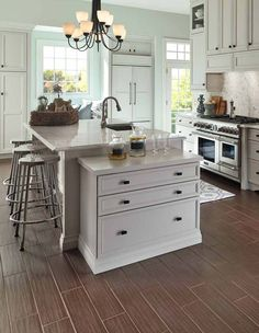 Kitchen Awesome Kitchen Concepts For Portion of the Price: Awesome Small Kitchen Ideas Plus Ceramic Flooring Along With High Gloss Finish Granite Countertops Plus Three Bar Stools Also A Single Bronze Chiseled Pendant Lamps And Kitchen Cabinet And Table Kitchen And Chair